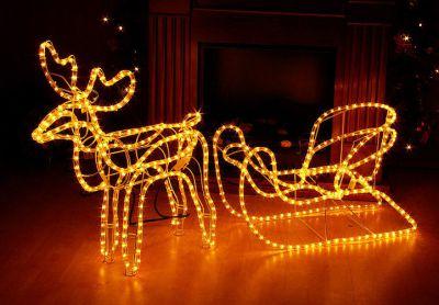 Světelná dekorace - vánoční sob, 140 cm, teple bílý