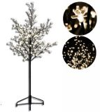 Dekorativní LED strom s květy - 1,5 m, teple bílá