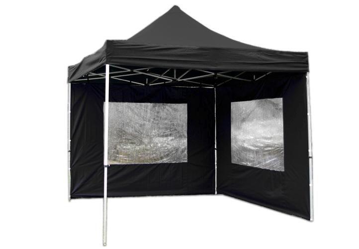 Zahradní párty stan nůžkový PROFI 3x3 m černý + 2 boční stěny