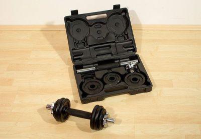 Profi set 2 činky v kufříku 7,5 kg litina 35,5 cm