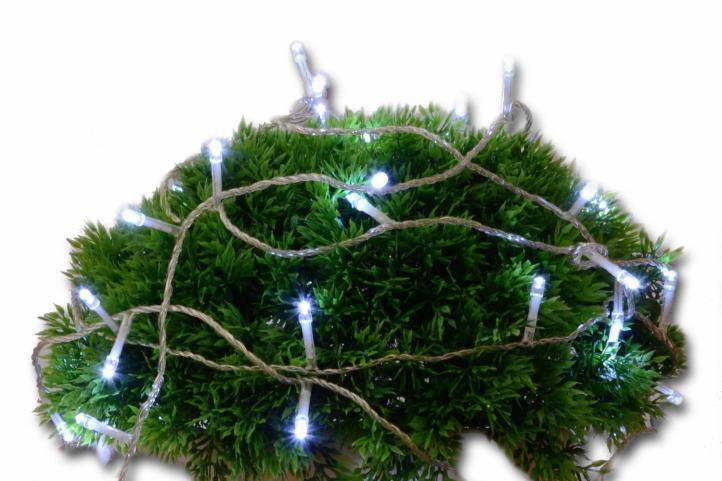 Vánoční LED řetěz - 10 m, 100 diod, studeně bílý