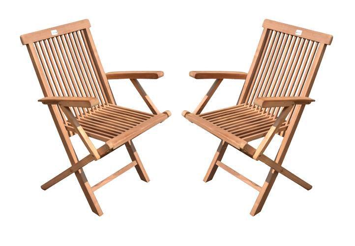 Divero 2288 Skládací židle z týkového dřeva, 2 ks