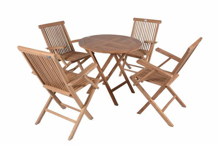 Divero 2299 Zahradní venkovní nábytek z týkového dřeva s opěrkami
