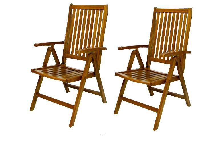 Garthen 2347 Skládací židle z akátového dřeva, 2 ks