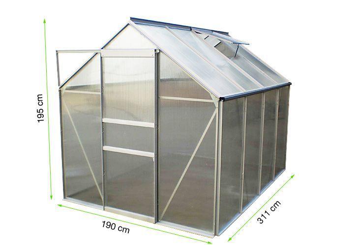 Zahradní skleník Garth s posuvnými dveřmi 311 x 190 x 195 cm