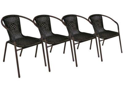 Set 4 ks polyratanová zahradní židle Garth - tmavě hnědá