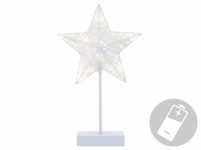 Nexos 28386 Vánoční dekorace - svítící hvězda na stojánku - 40 cm, 10 LED diod