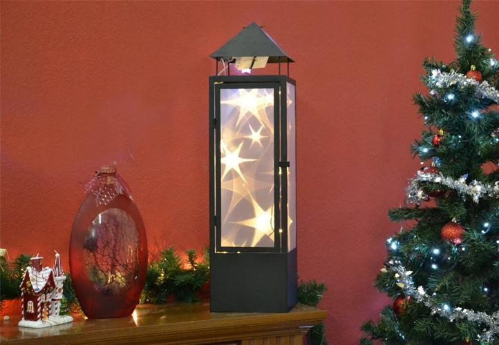 Vánoční dekorace - holografická 3D lucerna - 70 cm, 20 LED diod