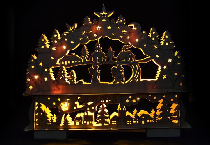 Nexos 28392 Vánoční dekorace - Vánoční krajina - 10 LED diod