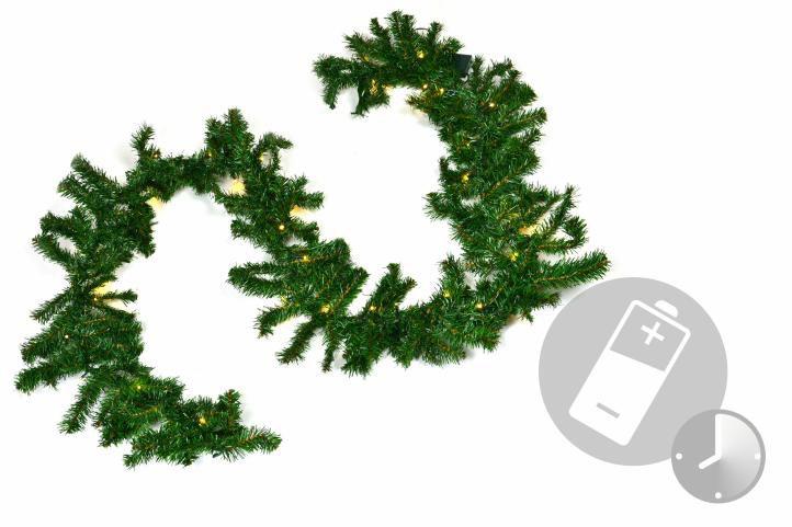 Vánoční dekorace - girlanda s osvětlením 2,7 m - na baterie
