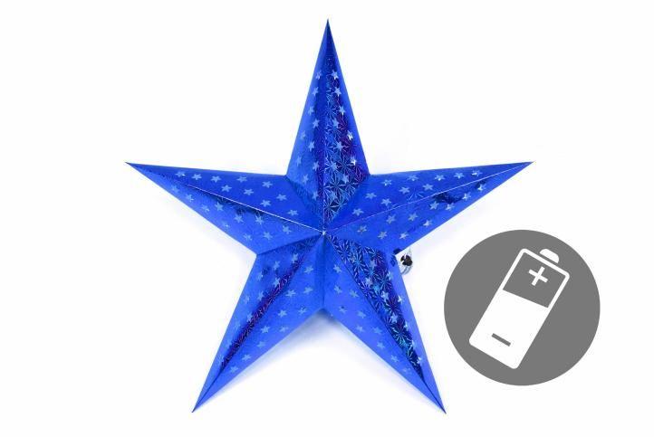 Fotografie Nexos 29227 Vánoční dekorace - hvězda s časovačem 60 cm - 10 LED, modrá