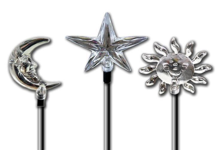 Solární dekorativní LED svítidla, motivy - slunce, měsíc, hvězda