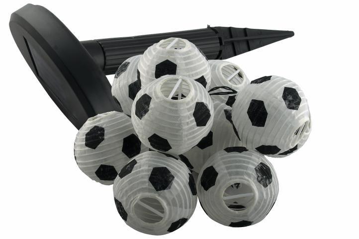 Solární zahradní párty lampion - 10 x fotbalový míč