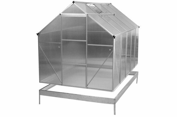 Garthen 31021 ALU skleník 250 x 190 x 195 cm - spodní rám a automatický otvírač oken