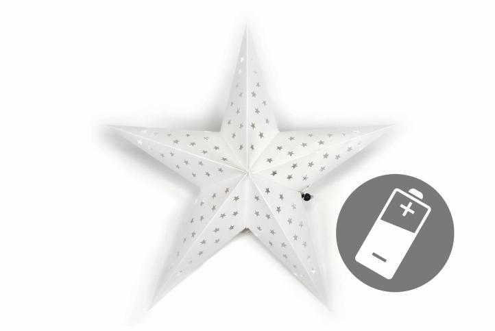 Fotografie Nexos 32546 Vánoční dekorace - hvězda s časovačem 60 cm - 10 LED, bílá