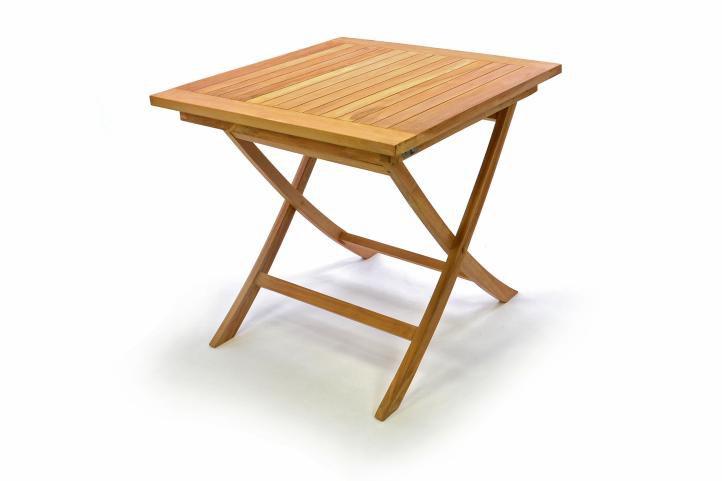 Divero 32593 Dřevěný zahradní stůl, týkové dřevo, 80 x 80 cm