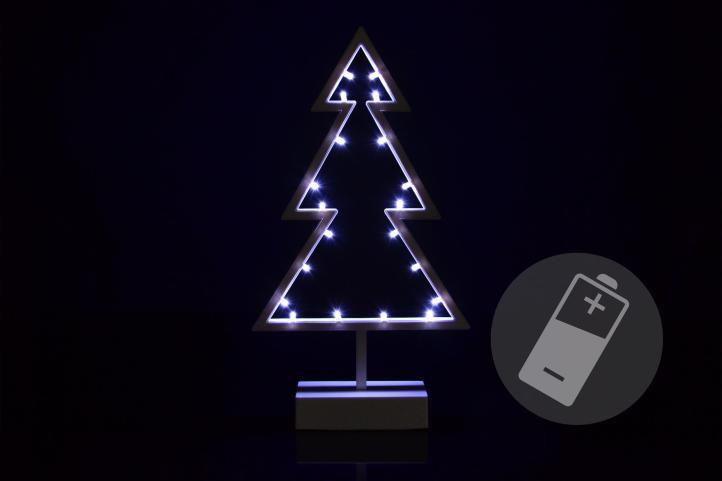 Nexos 33211 Vánoční dekorace - stromek - studená bílá, 20 LED, 38 cm