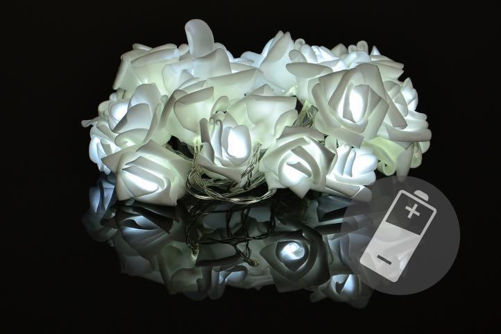 Nexos 33216 Dekorativní LED osvětlení - růže - 20 LED, studená bílá