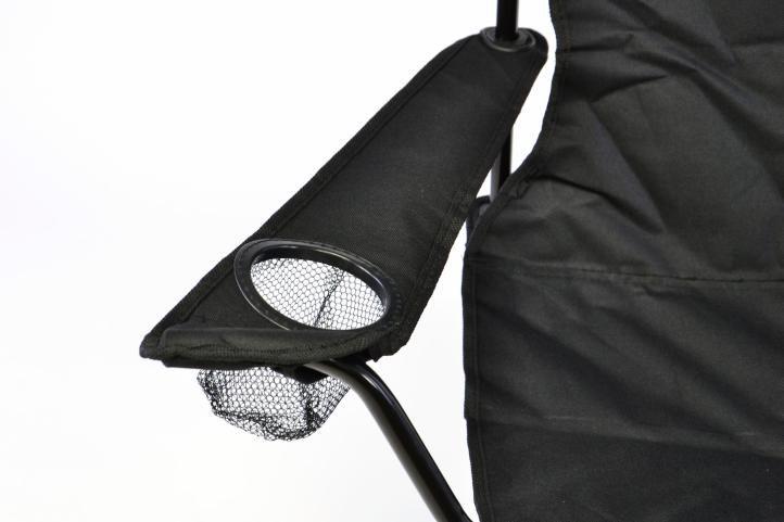 Skládací kempingová židle s držákem nápojů, černá