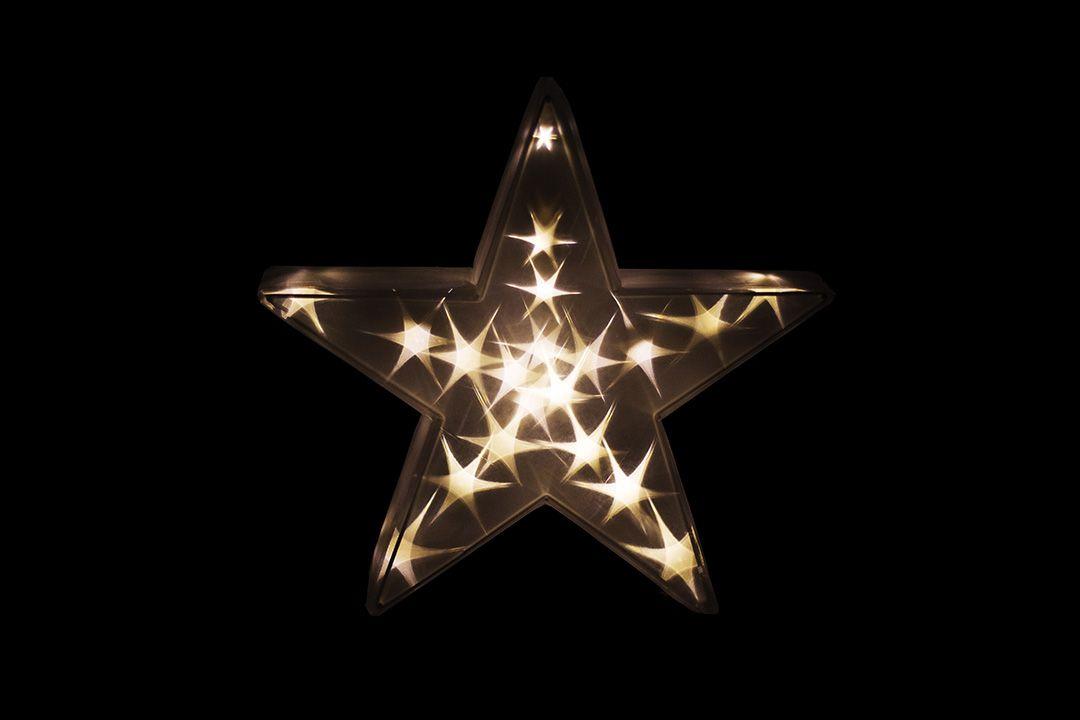 Vánoční dekorace - 3D hvězda - teple bílá 20 LED, 35 cm