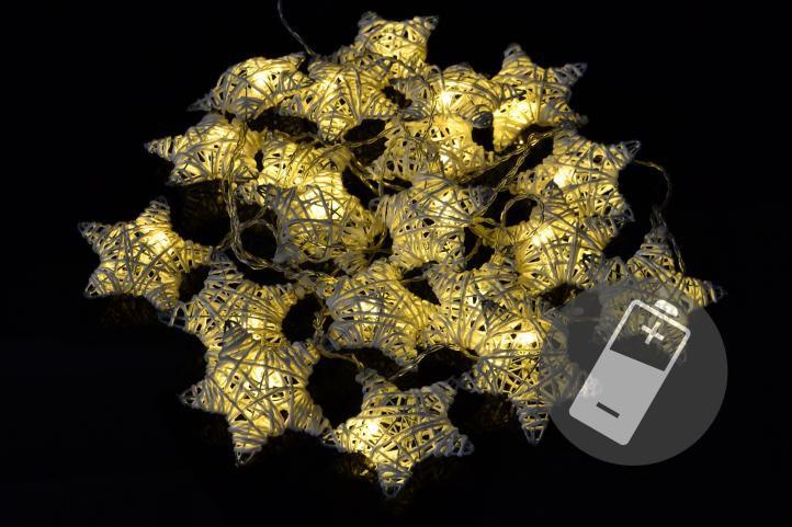 Vánoční LED řetěz - hvězdy - 20 LED, teple bílá