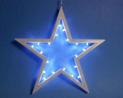 Vánoční závěsná hvězda - 25,5 cm, 20 LED, studeně bílá