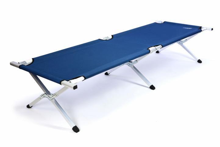 Přenosná hliníková skládací postel DIVERO 210 x 64 x 42 cm - modrá
