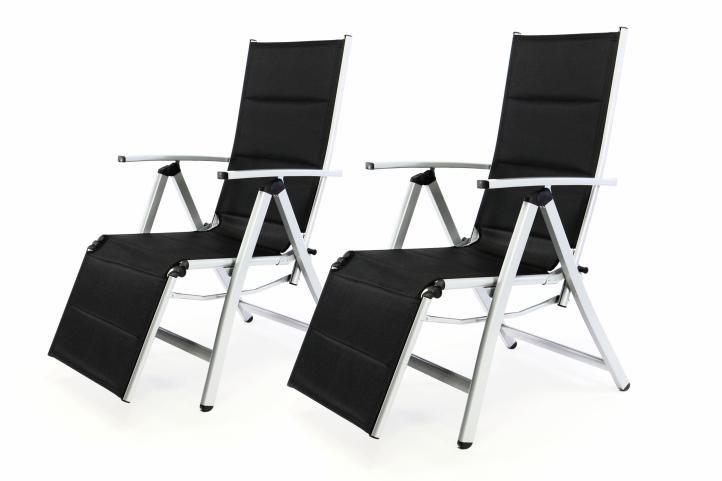 Garthen 35365 Sada 2 ks DELUXE zahradní polohovatelných židlí s opěrkou nohy - černá