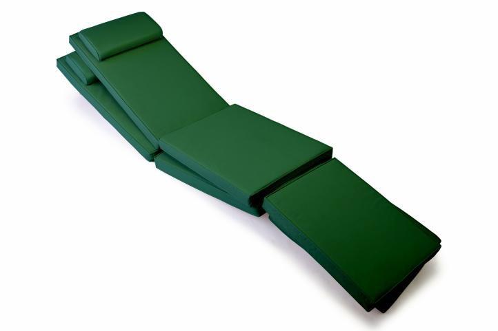 Divero 36875 Sada 2x polstrování pro lehátko 188 cm - tmavě zelená