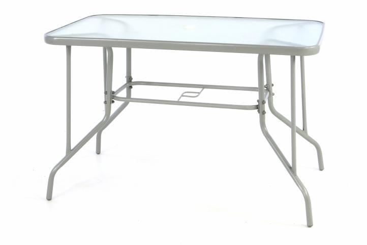 Garthen 39230 Zahradní obdélníkový stůl BISTRO se skleněnou deskou - šedá
