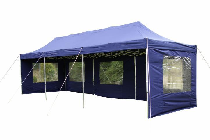 Garthen 401 Zahradní skládací stan - modrý, 3 x 9 m