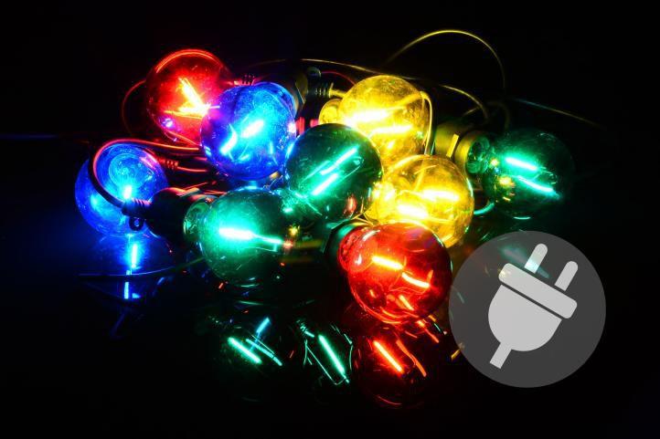 Zahradní párty osvětlení LED - skleněné žárovky - 5 m barevné Garthen D40612