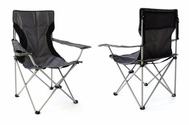 Divero 40846 Sada 2x Kempingová rybářská skládací židle - šedá