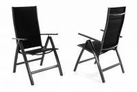 Sada dvou zahradních hliníkových židlí DELUXE - černá