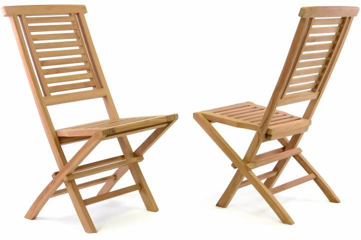 Divero Hantown 41623 Sada 2 ks Skládací zahradní židle - týkové dřevo