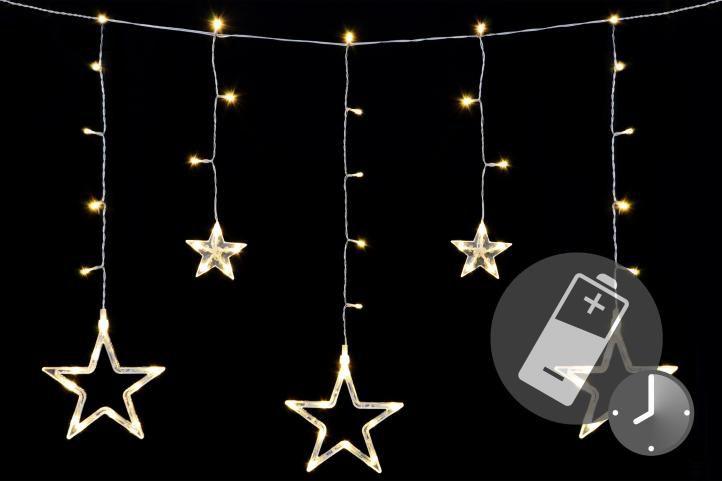 Nexos 41712 Vánoční LED řetěz - hvězdy - 61 LED 0,6 m teple bílé