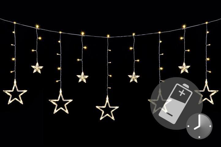 Nexos 41713 Vánoční LED řetěz - hvězdy - 138 LED 1,65 m teple bílé