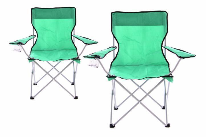 Divero 43247 Sada 2 ks Skládací kempinková rybářská židle OXFORD - zelená
