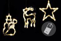 Vánoční dekorace na okno - hvězda, sněhulák, sob - LED CLEAR