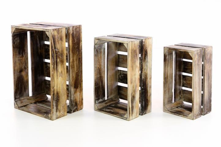 Divero 47196 Sada dřevěných bedýnek VINTAGE - 3 ks hnědá