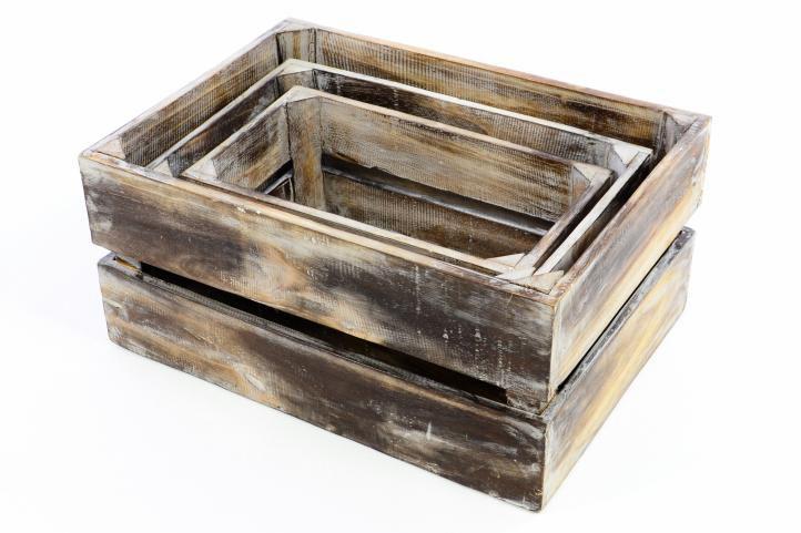 Sada 3 ks Dřevěná bedýnka VINTAGE DIVERO hnědá - 51 x 36 x 23 cm