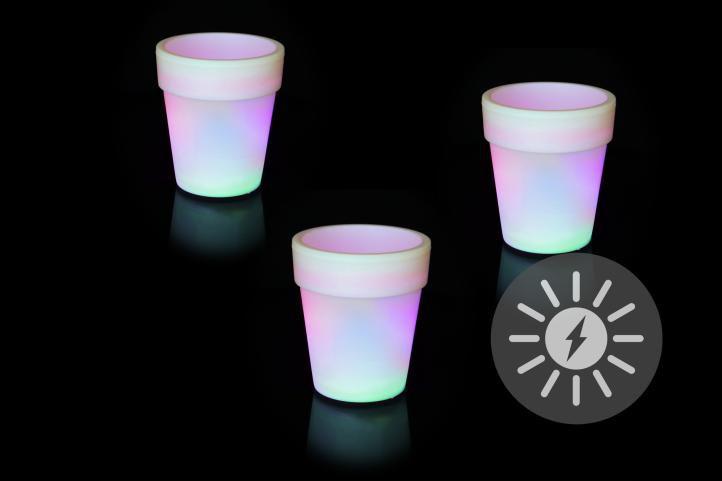 Nexos 55822 sada 3 ks solárních květináčů LED bílé 3 LED měnící barvu 19x17 cm