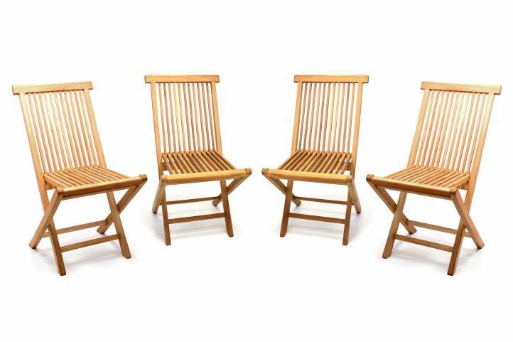 Divero 57023 Sada 4 kusů - zahradní skládací židle - týkové dřevo