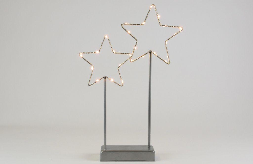 Nexos 57389 Vánoční LED dekorace - kovové hvězdy- 25 LED šedá