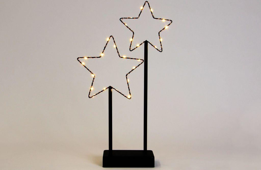 Nexos 57391 Vánoční LED dekorace - kovové hvězdy- 25 LED černá