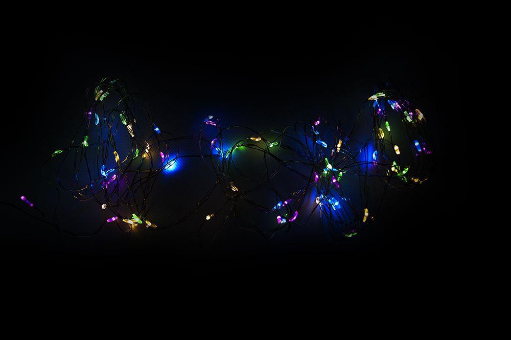 Nexos 59016 LED osvětlení - stříbrný drát - 60 LED barevné