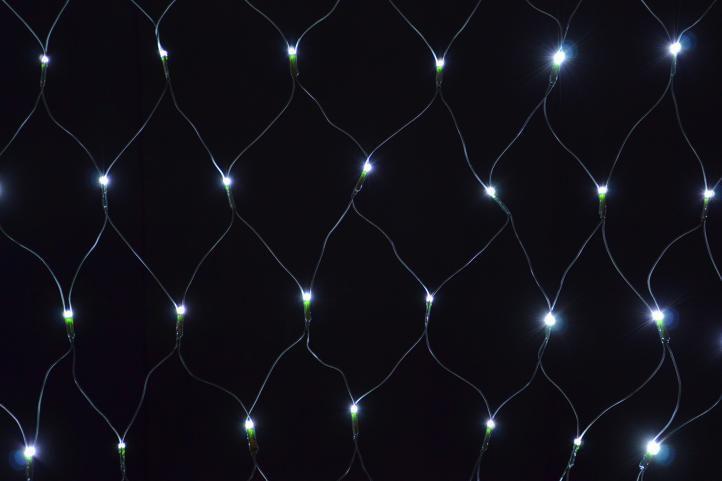 Nexos 5964 Vánoční osvětlení - LED světelná síť 1,2 x 1,9 m - studená bílá, 160 diod