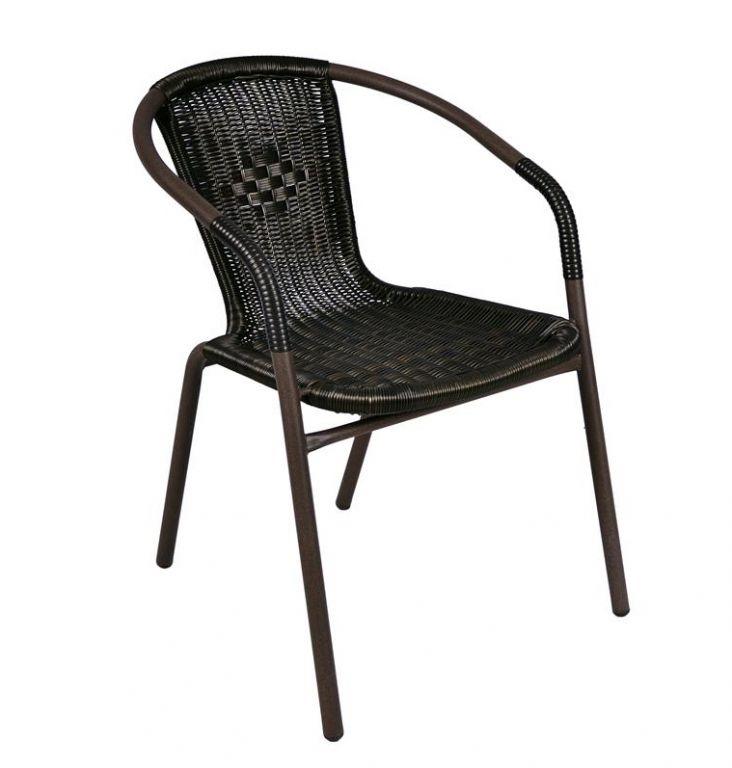 Garthen Bistro 6159 Zahradní ratanová židle - černá s hnědou strukturou