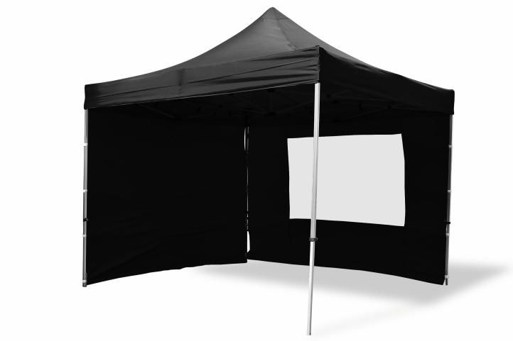 Garthen 6352 Zahradní párty stan nůžkový PROFI 3x3 m černý + 4 boční stěny