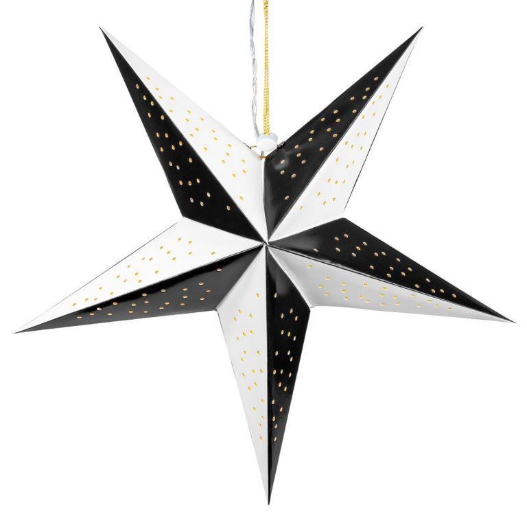 Nexos 64574 Vánoční dekorace hvězda s časovačem - 10 LED, černo-bílá